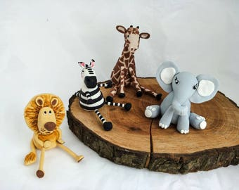 Safari / Jungle Animals edible fondant cake topper set (lion, zebra, giraffe, elephant) jungle theme party, jungle baby shower, birthday