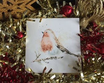 Christmas Robin Card, Blank Christmas Cards, Blank Greeting Cards, Blank Inside Cards, Holiday Cards, Blank Note Card, Watercolor Cards