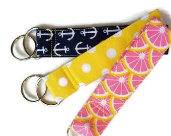 Key Chains in Fun Fabrics, Match Our Dog Poop Bag Holders, Pink Fruit, Yellow and White Polka Dots, Nautical Navy with White Anchors