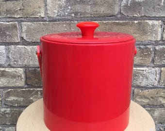 Vintage Red Vinyl Ice Bucket