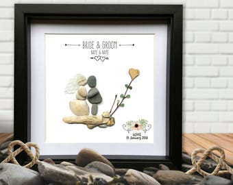 Wedding Pebble Picture Personalised Gift - Wedding, Bride Groom Gift - Personalised Pebble picture. Gay versions available. BEST SELLER!!!