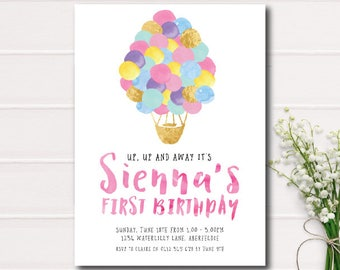 Gold Foil and Pink First Birthday Invitation, Up, Up and Away Balloon Birthday Invite, Hot Air Balloons First Birthday Printable Invitation