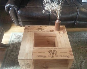 Handmade Wine Crate Coffee Table with Storage