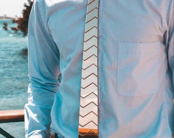 Dapper Tie - Silver Hex ZigerZager Tie ,NeckTie , Neck Tie Modern Geometric Tie Honeycomb  zig zag Hexagon Tie Futuristic Tie Wedding)