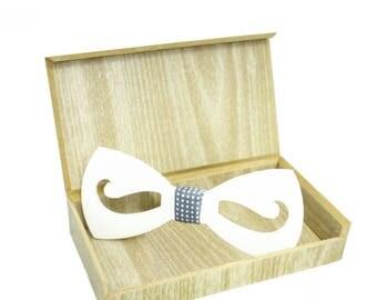 Dapper Moustache White/Black Hex Bow Tie - Honeycomb Style ( Suit Accessories - NeckTie, Neck tie , Modern Geometric groom Bow tie)