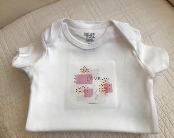 """Newborn, 3, 6, or 9 month onesie """"Love"""""""