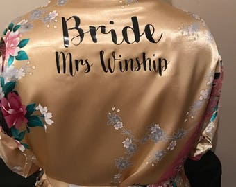 x1 white x3 Gold bridal robes, Personalised gowns, bridal robes personalised for you kimono robe bride wedding bridesmaids