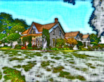 Historic Fern Cottage, Ferndale, California, Digitally Enhanced 8x10 Photo Print