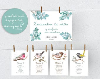 BIRDS Wedding Seating Chart,CUSTOM printable item.Watercolor illustration,Find your seat,Wedding invitation,romantic style,nature,Download