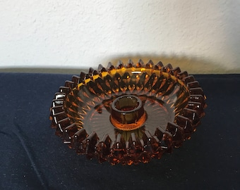 Indiana Glass Amber Diamond Point Candle Holder