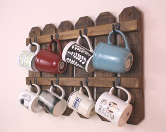Cup Holder|Mug Rack|Mug Holder|Coffee Mug Rack|Coffee Cups|Coffee Mug Holder|Cup Mug Rack|Coffee Mug|Rustic Mug Rack|Farmhouse Decor|Gift