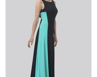 Black Contrast Blue Rayon Maxi Dress