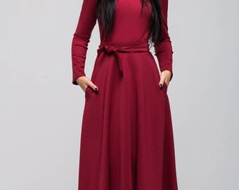 Burgundy Jersey long dress.Long sleeve belted dress.Full length dress autumn