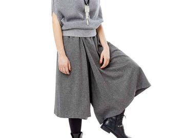 Modern grey culottes, urban skirt pants,asymmetric  wool pants.Wide leg pants