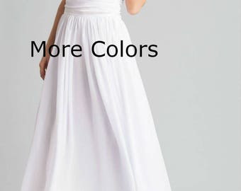 White Floor Length Dress,sexy Chiffon Sleeveless Evening Dress,high Waist  Junior Bridesmaid Dress