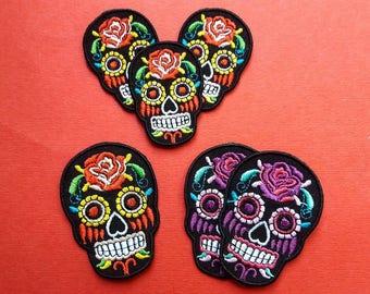Los dias de los muertos iron on patch, MULTI SIZE, Sugar Skull Day of the Dead Iron On Appliqué Patches, Rockabilly, Retro, DIY, Rose