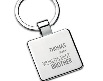 Personalised engraved BROTHER square metal KEYRING gift, World's best - 5580PT5