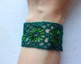 Césped Beaded Bracelet Jade Green