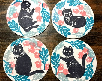 Black Cat Coasters Set (4) - linoleum Block printing
