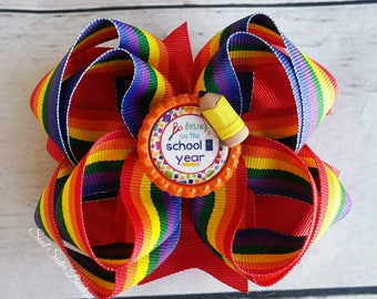 Back to school boutique pinwheel hair bow rainbow hair clip school year