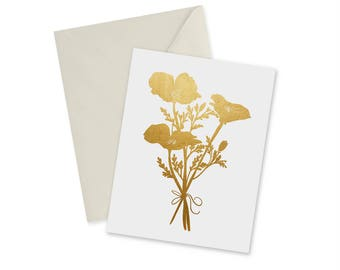 Golden Poppies, Blank Notecard and Envelope, California Souvenir, Stationery, Shiny Gold, A2 Greeting Card, 4.25 in. x 5.5 in.