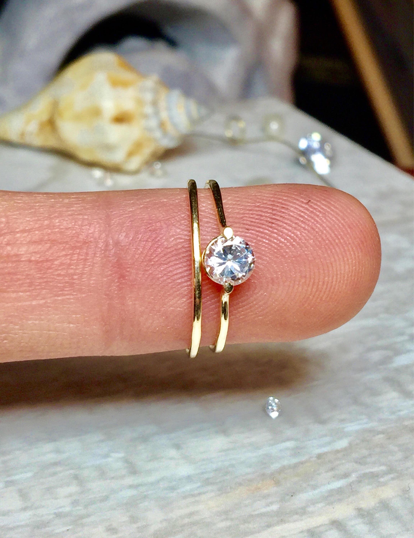 2 Pc Set 14k 10k Real Gold Stacking Ring minimalist Rings