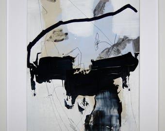 Original abstract illustration, no. 0657, mixed media on paper, 35x50cm. 2017