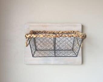 Hanging Rustic Wood Basket Storage, Produce Basket, Wire Baskets, Diaper Basket, Farm House Kitchen Storage, Mail Holder