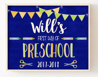 First Day of School Sign-First Day of Preschool Chalkboard Sign-First Day of School Printable Sign-Boy School Sign Print-Instant Download
