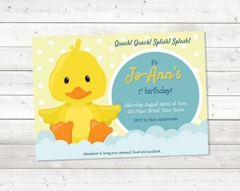 Rubber Duck Birthday Invitation, Rubber Ducky Birthday Invitation, Girl, Printable, Personalized
