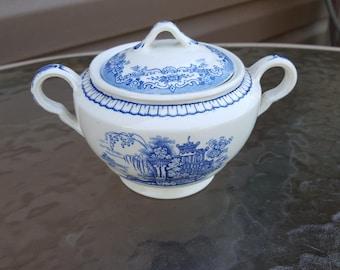 John Maddock & Sons Blue Bombay Lidded Sugar Bowl