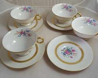 4 Theodore Haviland Gainsborough Cups & Saucers