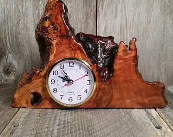 Redwood Burl Clock Table Shelf Mantle Desk Office Gifts for Men Sitting Wood #U