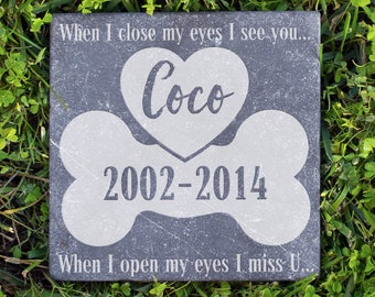 Personalized Memorial Pet Stone Natural - My Eyes I Miss You Engraved Headstone, Burial Cemetery Stone Grave Marker for Best Companion #19