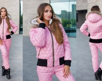 2 pcs Womens Winter Sport Suit Set Tracksuit Jacket Pants Ski Black Red Pink White Outwear Outfit Skisuit Snowsuit Damenoverall Overall