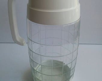 Vintage Glass Checkerboard Pitcher Top Taiwan Lid Screwtop Carafe Retro White Clear