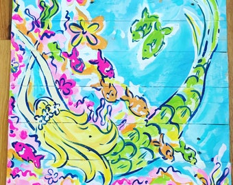 Lilly Style Mermaid Artwork on Pallet Swimming with the Fish