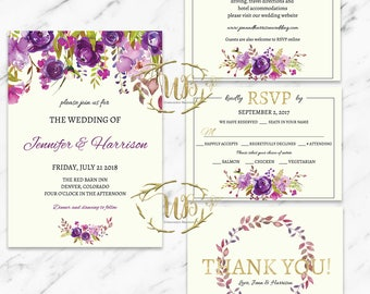 Printable Wedding Invitation Template - Purple Florals - INSTANT Download