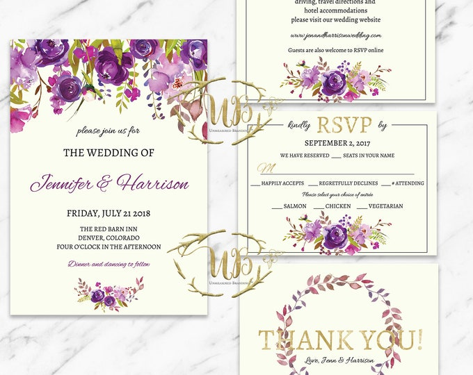 Featured listing image: Printable Wedding Invitation Template - Purple Florals - INSTANT Download