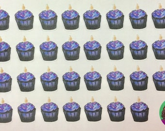 Galaxy cupcakes for birthdays, celebrations, or just for people who like cake! Planner sticker sheet, Erin Condren, Recollection (Clbr8t1)