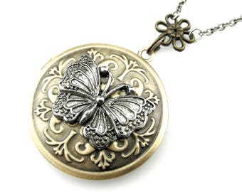 Insect locket - Butterfly Locket Necklace - Flower and Butterfly Picture Locket - Butterfly Photo Locket Pendant - Gift Idea for her