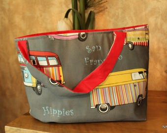 Grey and Red bag (S-097) HIPPIES