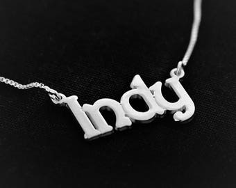 Silver name necklace / Indy Necklace / Any Name / Silver Name Plate / Personalized name necklace / Birthday day gift / valentines necklace