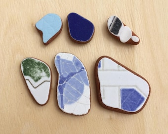 Ceramic Pottery, Genuine Eco Friendly, Surf Tumbled, Jewelry Supply