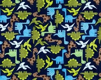 Minky Fabric by the Yard - Light Navy Dinosaurs Cuddle - (Shannon Fabrics - RKC Dino Midnight)