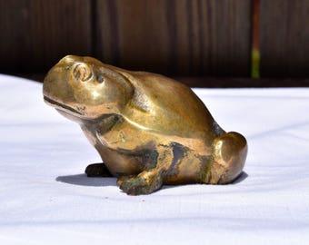Brass Toad / Brass Frog / Brass Frog Paperweight