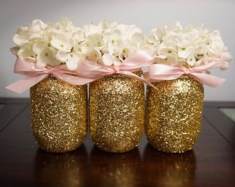 3 Gold Glitter Mason Jars, Pink Ribbon, Centerpiece, Decoration