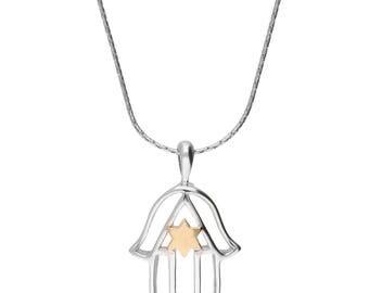 Handcrafted 925 Sterling Silver Hamsa Pendant Necklace, Gold Plated Silver Hamsa Pendant Necklace, Unique Judaica Pendant Necklace