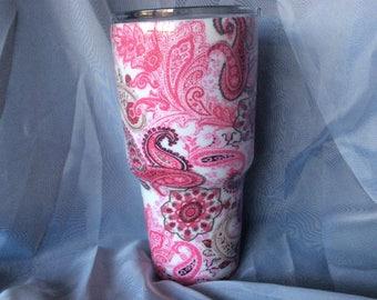 Pink Paisley thermal tumbler