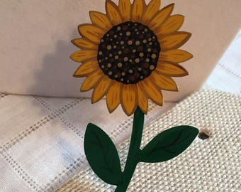 Copper Hand Painted Sunflower Pin/Brooch